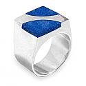 Sterling Silver Crescent Slab Lapis Lazuli Ring