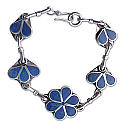 Sterling Silver and Lapis Lazuli Petal Chained Bracelet