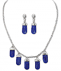 Sterling Silver and Lapis Lazuli Sky Tears Chained Set