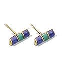 18K Gold Rectangular Division Post Earrings