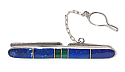 Lapis Lazuli and Sterling Silver Tie Bar. with Gold Division Details