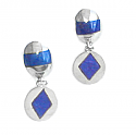 Sterling Silver and Lapis Lazuli Band - Diamond Hanging Earrings