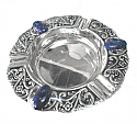 Silver Plated Round Ashtray with Oval Lapis Lazuli Cabochons