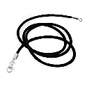 Black Silk Cord Necklace with Sterling Silver Closures
