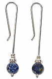 Sterling Silver and Lapis Lazuli Beads Extra Long Hanging Earrings