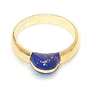 18K Gold Lapis Grain Ring