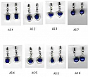 Pierced Sterling Silver Hanging Earrings - Lapis Lazuli