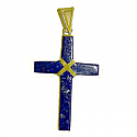 18K Gold and Lapis Lazuli Rectangular Cross