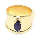 18K Gold Thick Band, Marquise Stone Ring