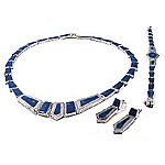 Big Stone Lapis Lazuli Framed Sterling Silver Set