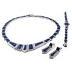 Big Stone Lapis Lazuli Framed Sterling Silver Set