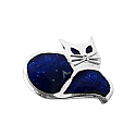 Sterling Silver and Lapis Lazuli Art Deco Cat Brooch