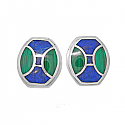 Lapis Lazuli and Malachite Art Deco Turtle Earrings