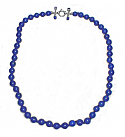 8 mm Lapis Lazuli Bead Necklace with Jeweled Sterling Silver Clasp