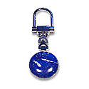 Lapis Lazuli Key Holders: Round Silver Plated Key Holder