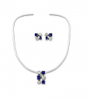 Sterling Silver, Lapis Lazuli and Nacar Necklace and Earrings Set