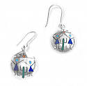Sterling Silver Round Diaguitas Hanging Earrings