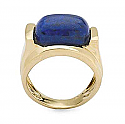 18K Gold with Oval Lapis Lazuli Cabochon Ring