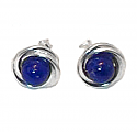 Sterling Silver Bird Nest Lapis Lazuli Earrings