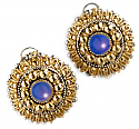 Sterling Silver, 18K Gold and Lapis Lazuli Grecian Post Earrings