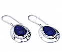 Sterling Silver and Lapis Lazuli Mayan Hanging Earrings