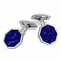 Sterling Silver and Lapis Lazuli Hexagonal Cuff Links