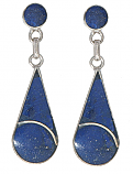 Pierced Drop Sterling Silver Hanging Earring with inlaid Stone