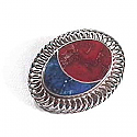 Lapis Lazuli and Jasper Sterling Silver Brooch