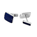 Rectangular Sterling Silver and Lapis Lazuli Cufflinks