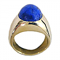 18K Gold Ring with Selected Lapis Lazuli Oval Cabochon