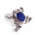 Sterling Silver Frog Pendant, with Inlayed Stone