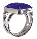 Sterling Silver and Lapis Lazuli Big Rectangular Ring