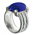 Sterling Silver and Lapis Lazuli Cabochon Cocktail Ring