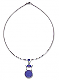 Sterling Silver Egyptian Necklace with Lapis Lazuli