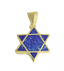 Lapis Lazuli and 18K Gold Star of David Charm