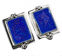 Sterling Silver and Lapis Lazuli Cluster Earrings