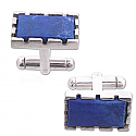 Sterling Silver and Lapis Lazuli Scalloped Edge Cuff Links