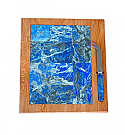 Large Lapis Lazuli and Sterling Silver Cheese Board