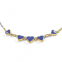 Lapis Lazuli and 18K Gold Heart Semicollar