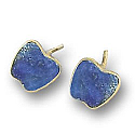 18K Gold Apple Single Stone Post Earrings