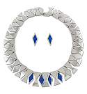 Sterling Silver and Lapis Lazuli Abstract Necklace, Earrings Set