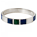 Sterling Silver Cuff Bracelet with Inlayed Lapis Lazuli and Malachite