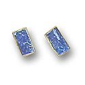 18K Gold Mini Rectangular Single Stone Post Earrings
