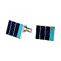 Rectangular Sterling Silver, Lapis Lazuli and Turquoise Cufflinks
