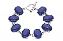 Sterling Silver and Oval Lapis Lazuli Cabochons Toggle Bracelet
