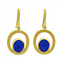 18K Gold and Lapis Lazuli Hanging Earrings
