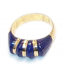 18K Gold Four Stone Sculpted Ring