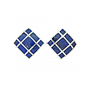 Sterling Silver and Lapis Lazuli Art Deco Square Earrings