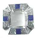 Silver Plated Astray with Square Lapis Lazuli Cabochons