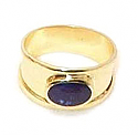 18K Gold Thick Band, Oval Stone Ring